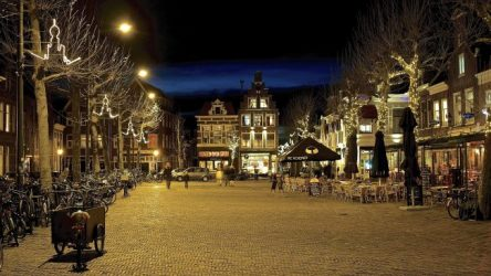 Haarlem's Botermarkt Market Square by night.